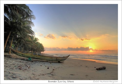 africa morning trees west beach strand sunrise coast boat palm atlantic ghana gulfofguinea
