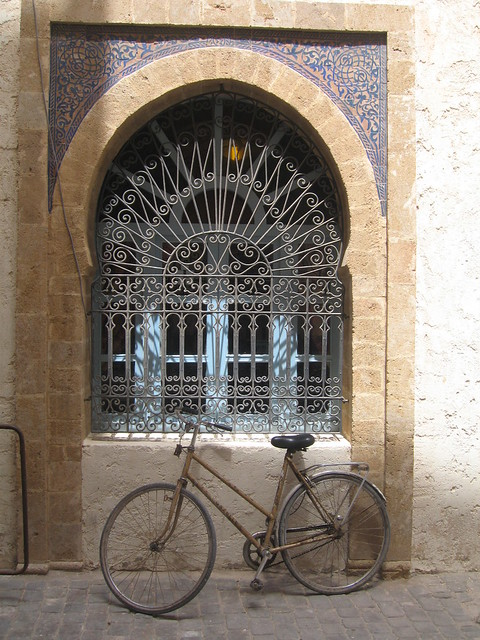 Arched window and Gazelle bike, Essaouira