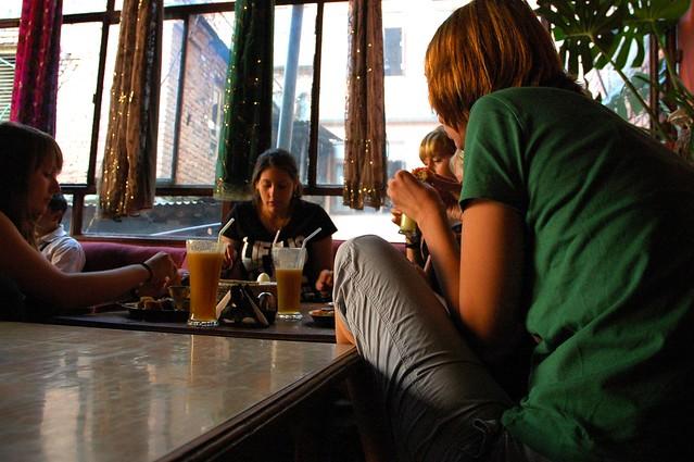 Girlfriends eating lunch, Thai tea, cool funky OR2K ...