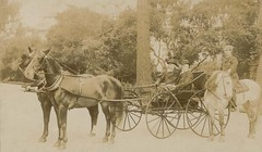 A photo of Adolph Barkan (1845-1935), Sir William MacEwen  (1848-1924), Stanley Stillman (1861-1935) in a horse drawn carriage