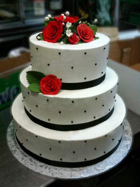 Simple Black White and Red Wedding Cake