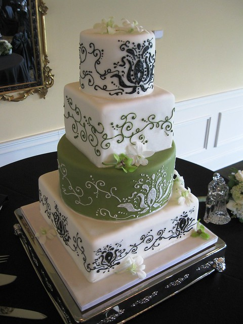 Black damask with green wedding cake wwwstephaniethebakercom