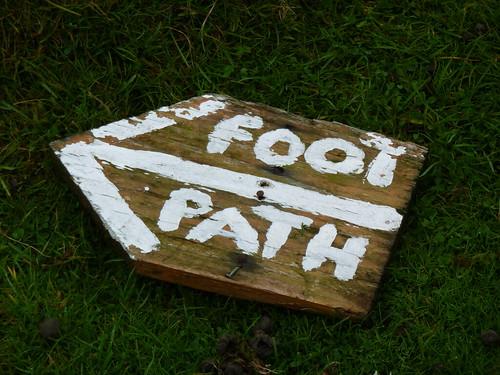 Homemade footpath sign