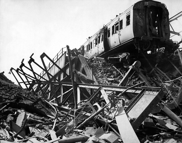 The London Necropolis Railway Station, privately owned station in Westminster Bridge Road, after London's biggest night raid of the war, ca. 1941