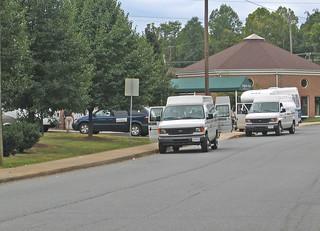 paratransit lines up near senior housing outside Cville
