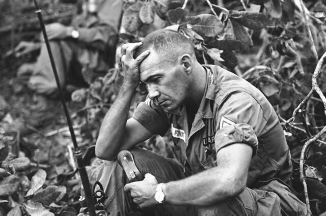 The strain of battle for Dong Xoai, Vietnam, by Steve Stribbens 1965