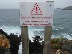 Danger de chute au delà de cette limite