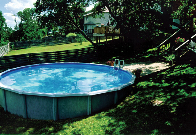 Backyard Above Ground Swimming Pool Ideas : Above ground pool in sloped backyard  Swimming pool ideas