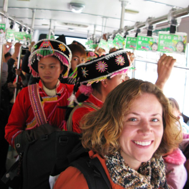On the bus with (probaby) Yi or (maybe) Naxi performers - Lijiang, China