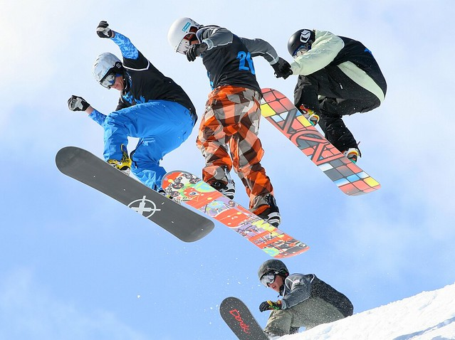 Getting air off the Wu-Tang in the Men's Snowboard Boardercross Finals - The Brits, Laax 2010