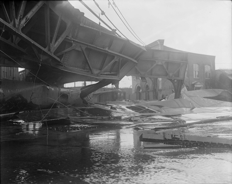 crumpled elevated train