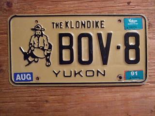 YUKON 1988, 91 ---PASSENGER PLATE BOV-8