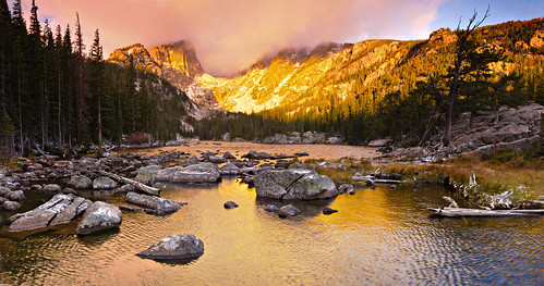 park mountain lake sunrise colorado dream rocky peak national rmnp hallett