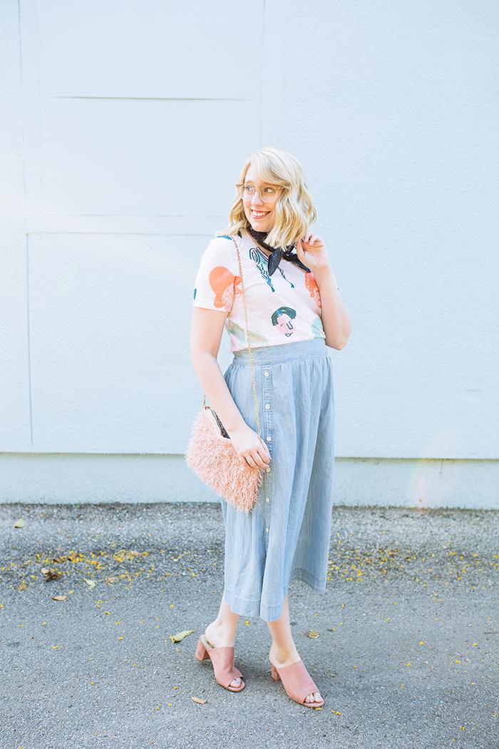 austin style blogger writes like a girl chambray madewell midi skirt1
