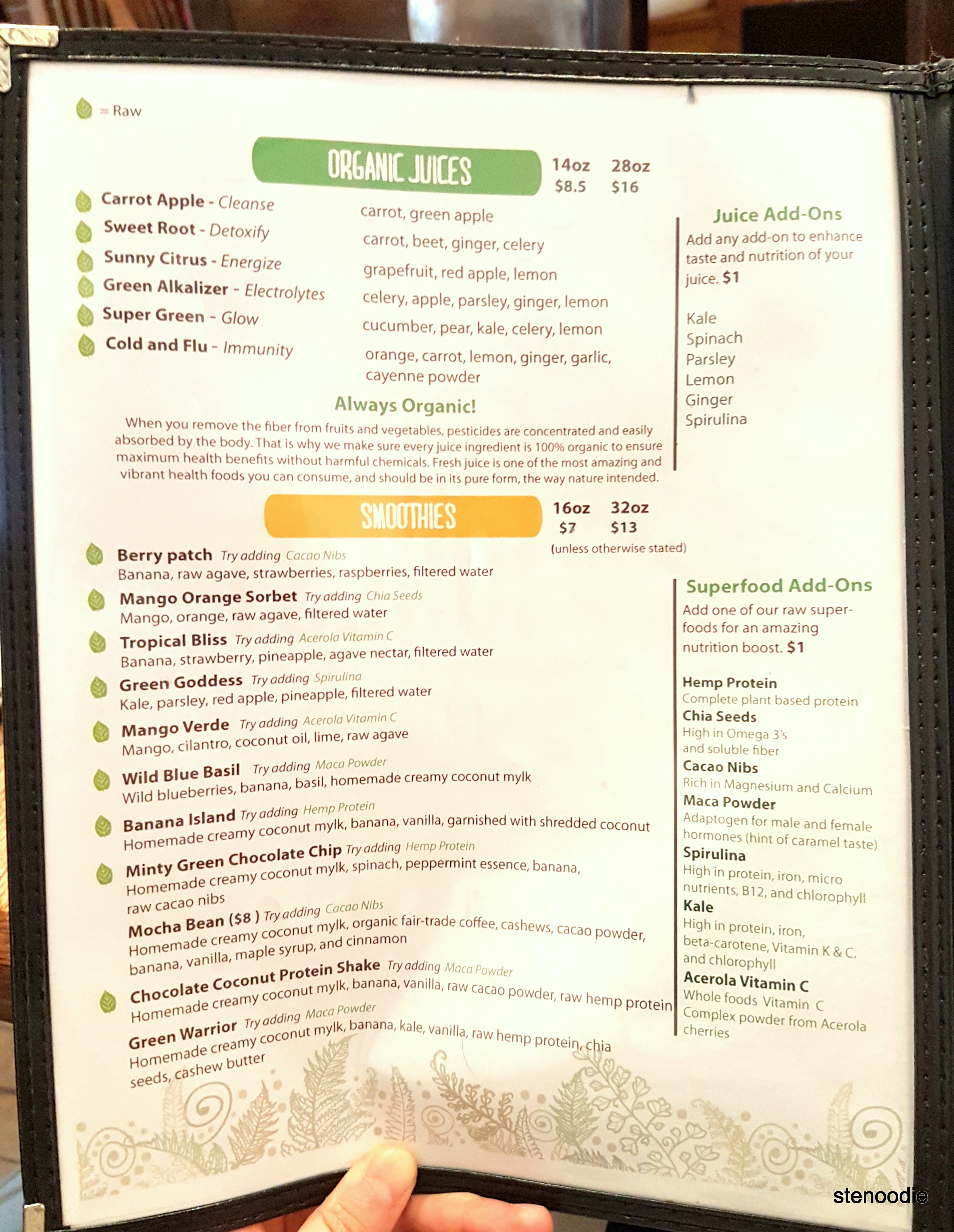 The Food Forest menu - juices and smoothies