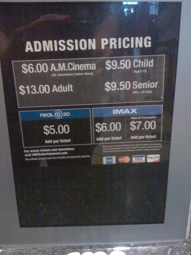 Yes. AMC Theatres breaks their pricing scheme into (3) different sets respectively. They are as follows: AM Cinema, Matinee, and Prime. I will list some details .