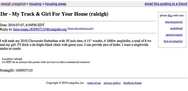 Craigslist anywhere backyard and sunny w heat inc ass for Trading websites like craigslist