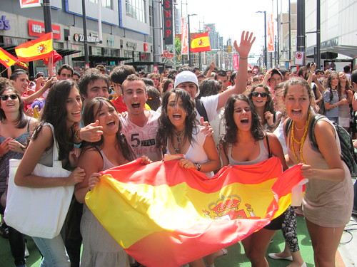 Wavin' the Flag on Granville Street in Vancouver: Spain Wins World Cup!!