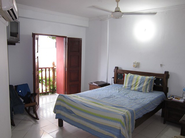 Private room with AC and balcony at a hostel in the Getsemani neighborhood of Cartagena