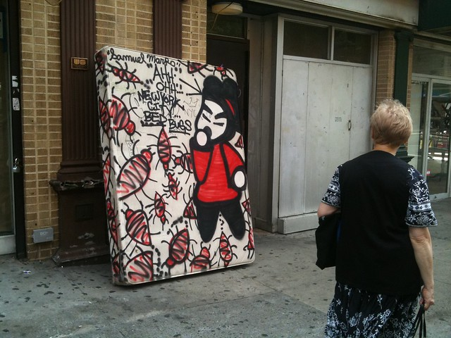 Mattress with Bedbugs Art, on corner of St. Marks Place and 2nd. Ave.