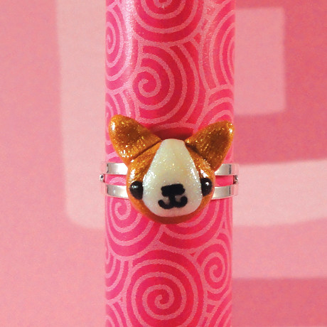Amigurumi Adjustable Ring : Amigurumi Kingdom Corgi puppy dog adjustable ring ...