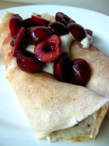 Cherries with Mint Cream Cheese Crepes