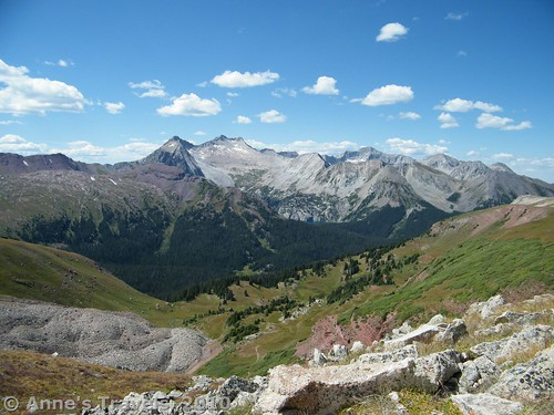 Snowmass Mountain, one of the few 14ers in Colorado not visible from a paved road.  This was taken from Buckskin Pass, Maroon-Snowmass Wilderness, Colorado