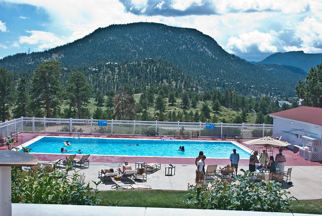 beautiful view of the rocky mountain national park swimming pool area of the stanley hotel