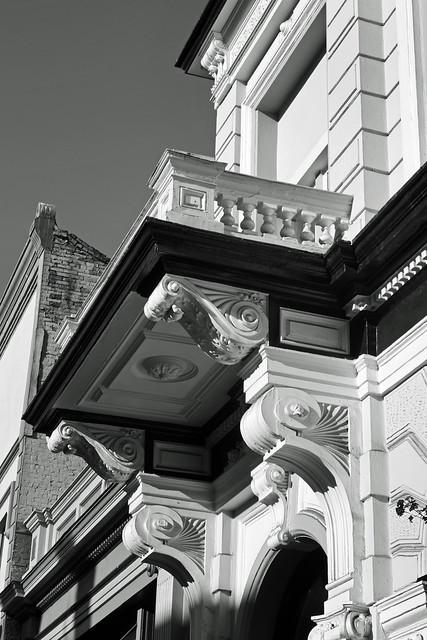 Detail, Bank of British Columbia building (1886).  Victoria BC, July 23 2010.