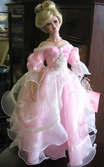 gown, pink, dress, doll, barbie, toy,
