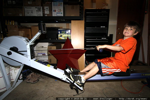 nick working out on the concept ii ergometer