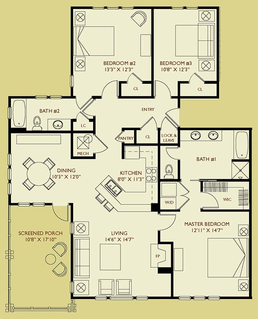 Condo d203 floor plan 3 bedroom 2 bath second floor for 2 bedroom 2 bath condo floor plans