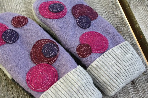 Grape Jelly-Felted Wool Mittens