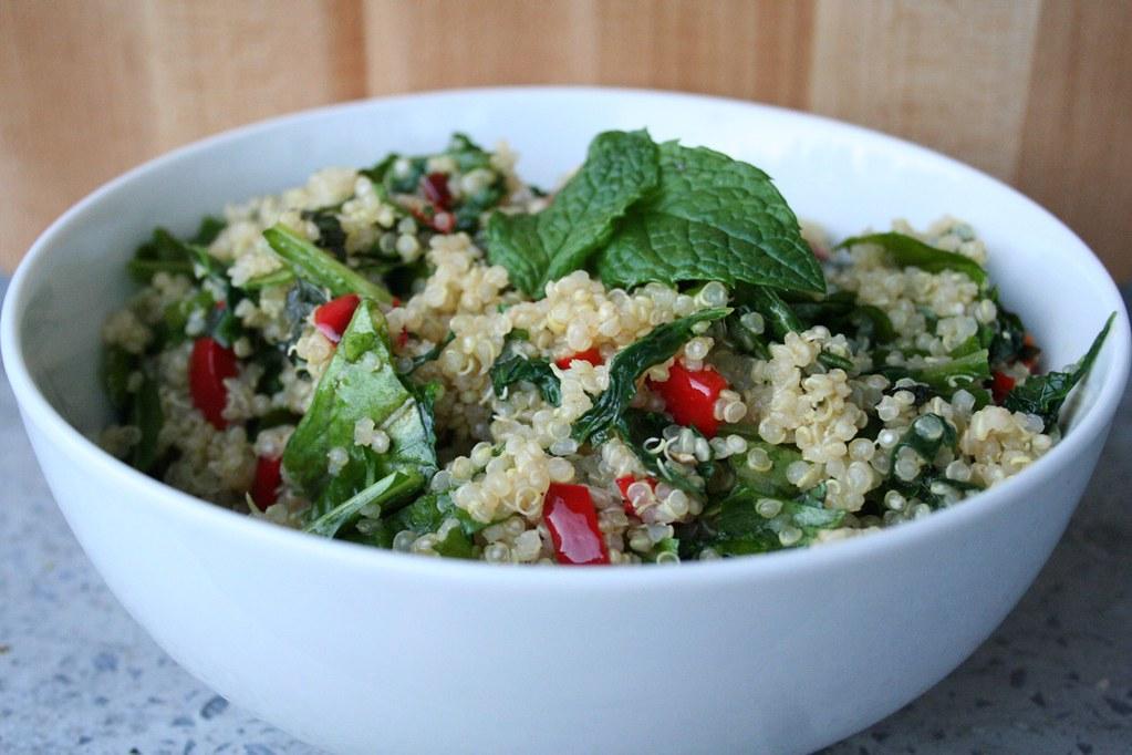 Warm Quinoa Salad with Kale and Arugula
