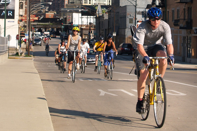 Bicycling on Milwaukee Avenue