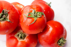 Group of tomatoes on white background