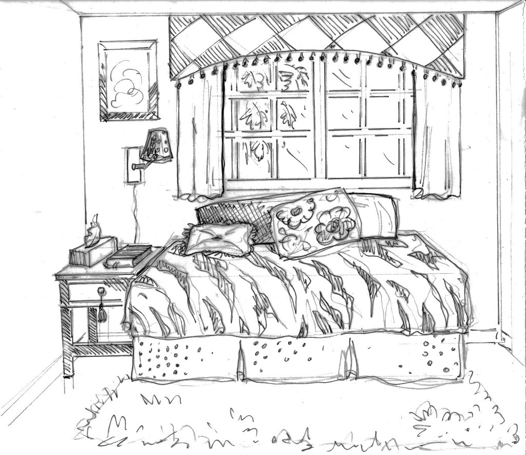 Free coloring pages of messy bedroom for Bedroom designs sketch