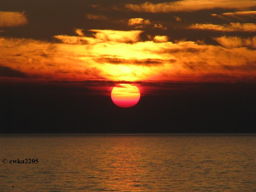 sunset sea summer sky sun clouds colorful balticsea słońce morze bałtyk chmury niebo lato kolorowy ewka2205