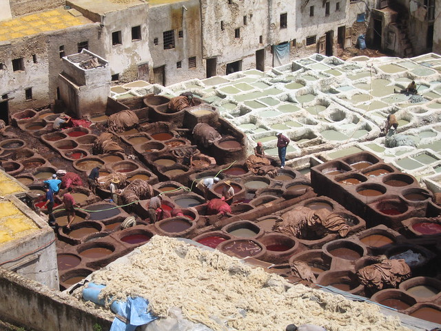 The dying vats reminded me of school paint pots, Fez medina