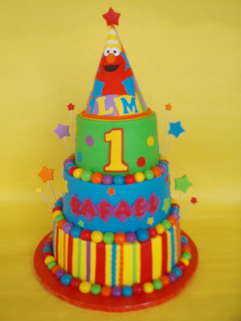Elmo Party Hat 1st Birthday Cake