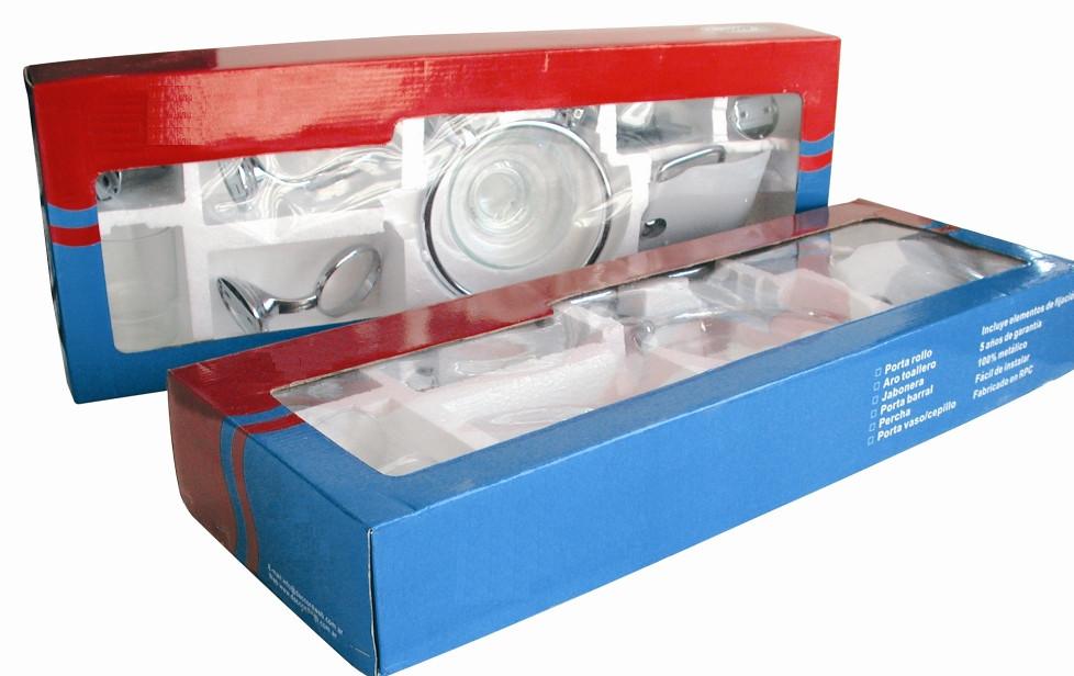 Kit de accesorios para ba o de 6 piezas cromo metalico for Kit de accesorios para bano