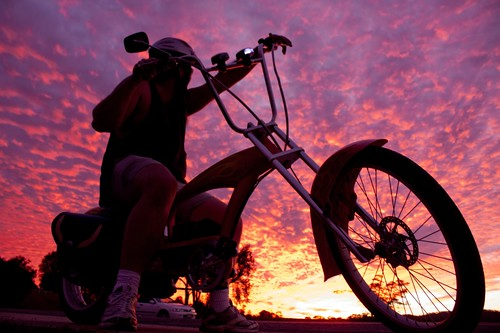 sunset sky nature bike bicycle clouds landscape evening pattern australia cycle queensland naturalwonder rider admire julysky