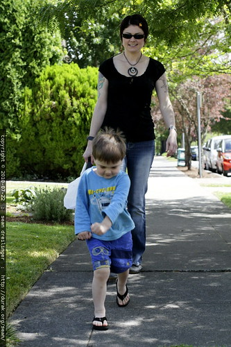 mother & son departing lunch @ the thai restaurant