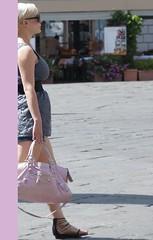pink blonde walking girl