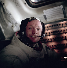 Neil Armstrong in the cabin after the completion of the first EVA. This is the face of the first man to set foot on the Moon, just hours earlier, by Buzz Aldrin, July 20, 1969, Apollo 11