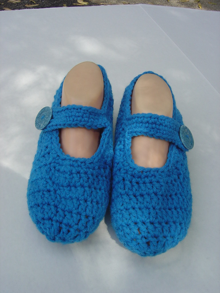True Blue Crochet Mary Jane Slippers Such A Treat For Your Flickr