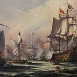 English King Charles II Receiving the Fleet After the Battle of Sole Bay 1672 by John Bentham-Dinsdale b 1927