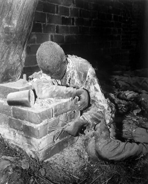 Gardelegen Massacre, victim who burned alive, by E.R. Allen 1945