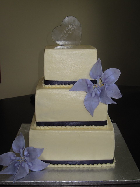 3 Tier Wedding Cake With Lilies