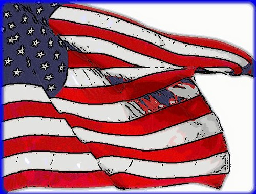 American Flag Graphic, white background - photo and graphic by jeannerene